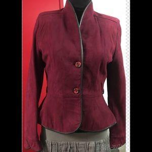 Gabriel Levy Cropped Burgundy Suede Leather Jacket